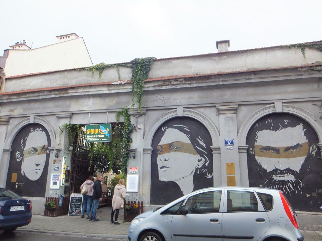 ポーランド、カジミエシュ地区(ユダヤ人街)の壁面アート