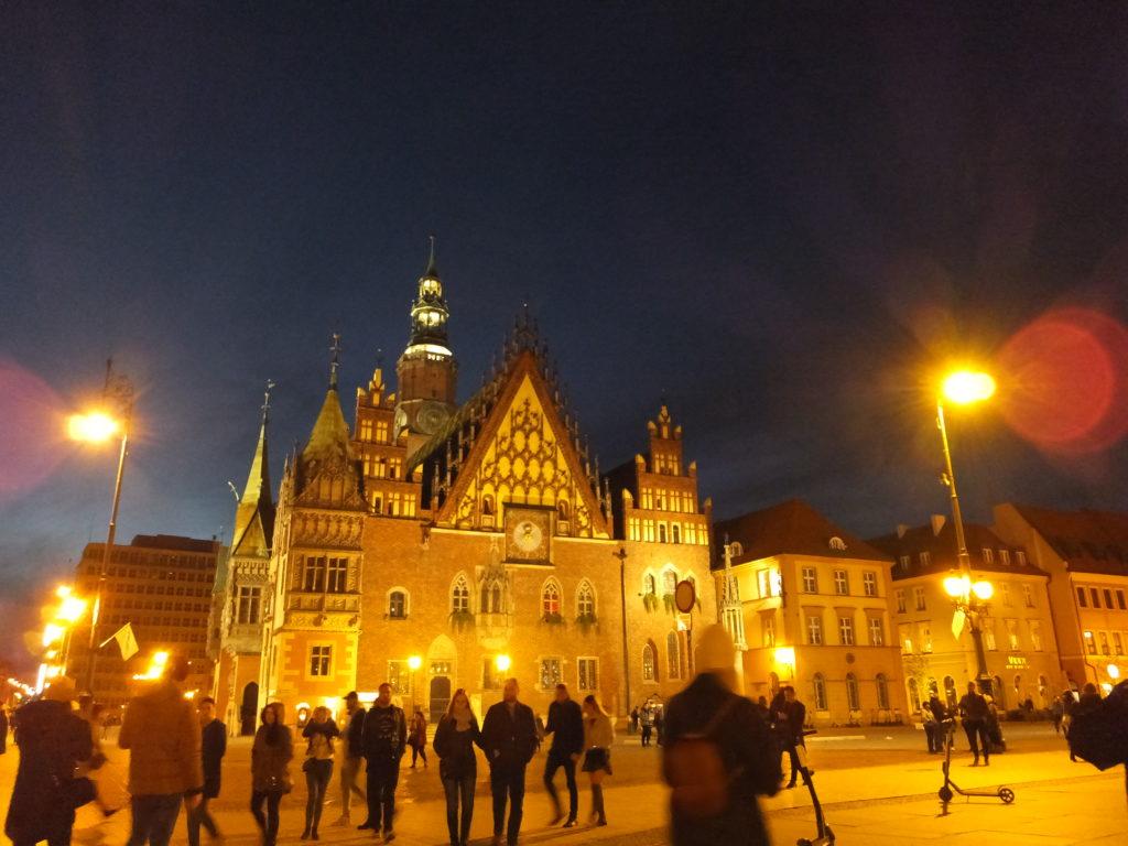 ヴロツワフ旧市街の夜景