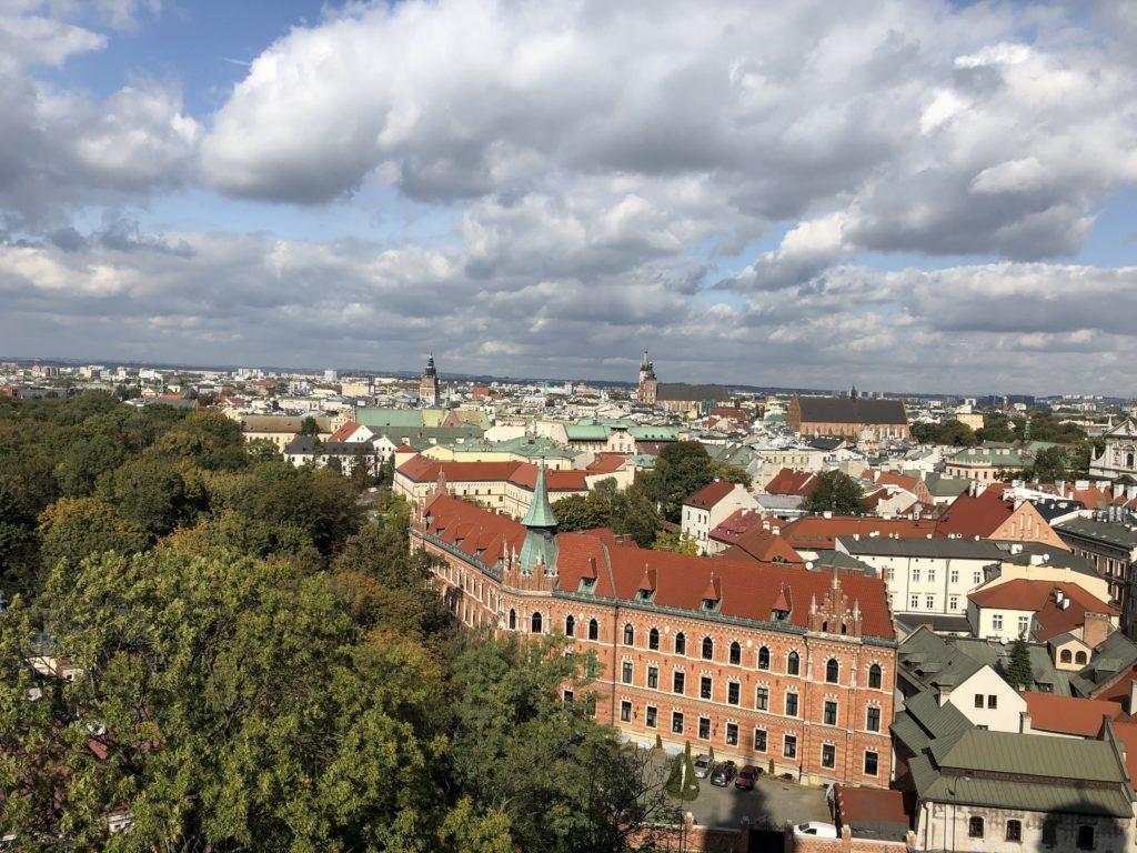 ヴァヴェル大聖堂の展望台から見えるクラクフの街