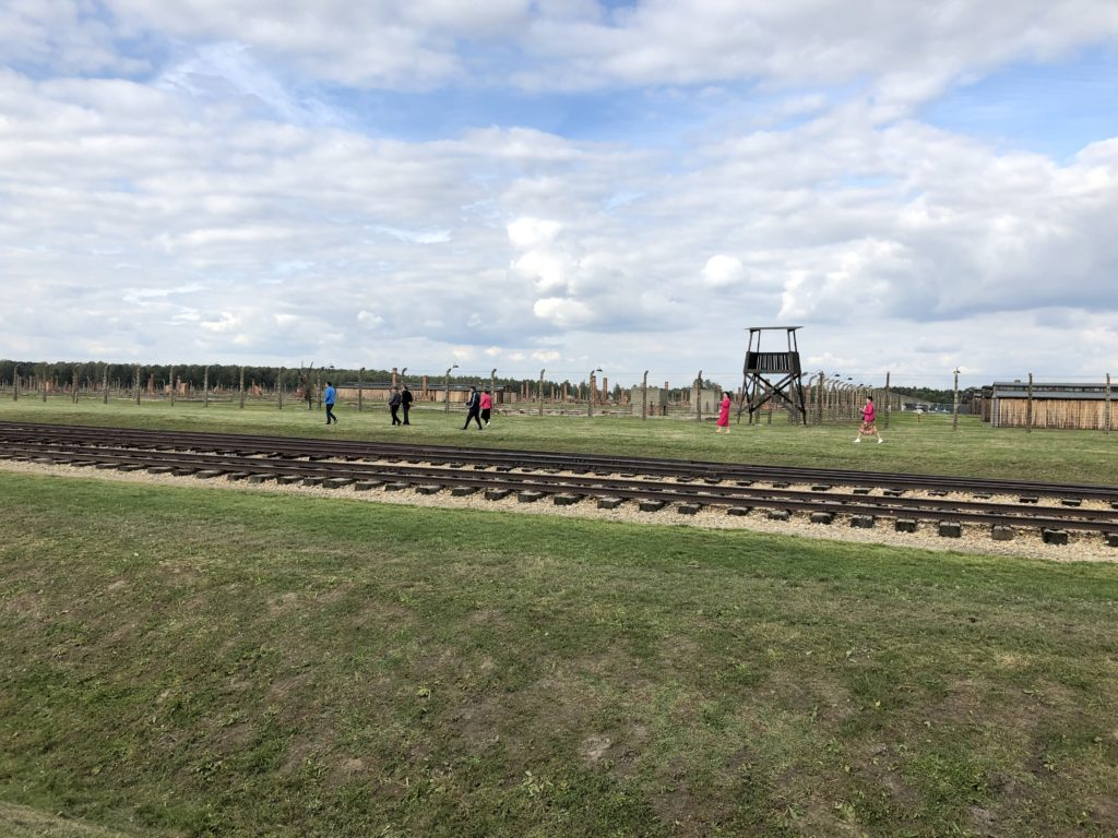 ビルケナウ強制収容所の線路と監視台