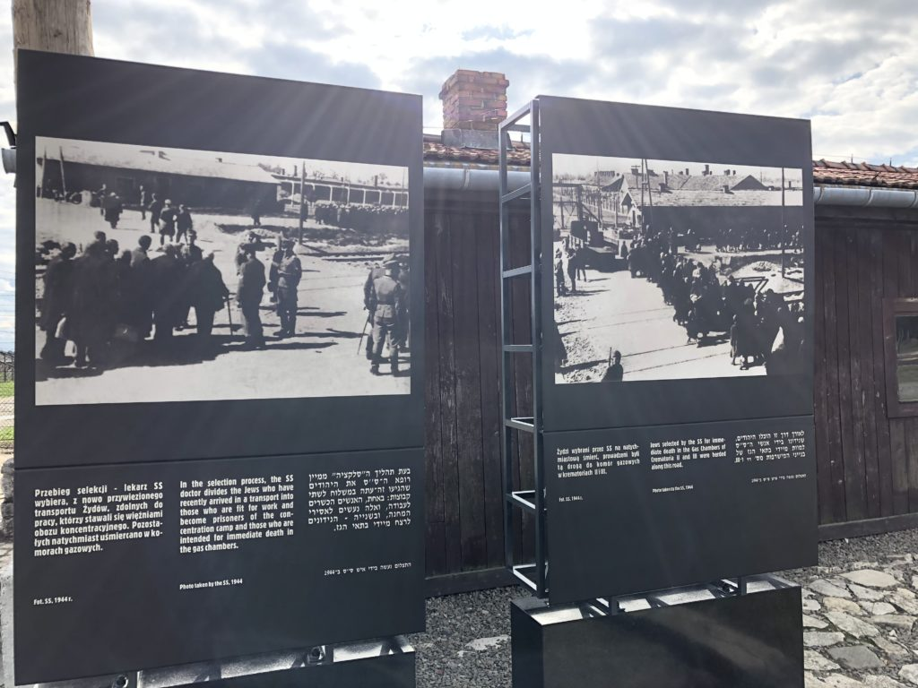 ビルケナウ強制収容所のユダヤ人が行列を作る当時の写真パネル