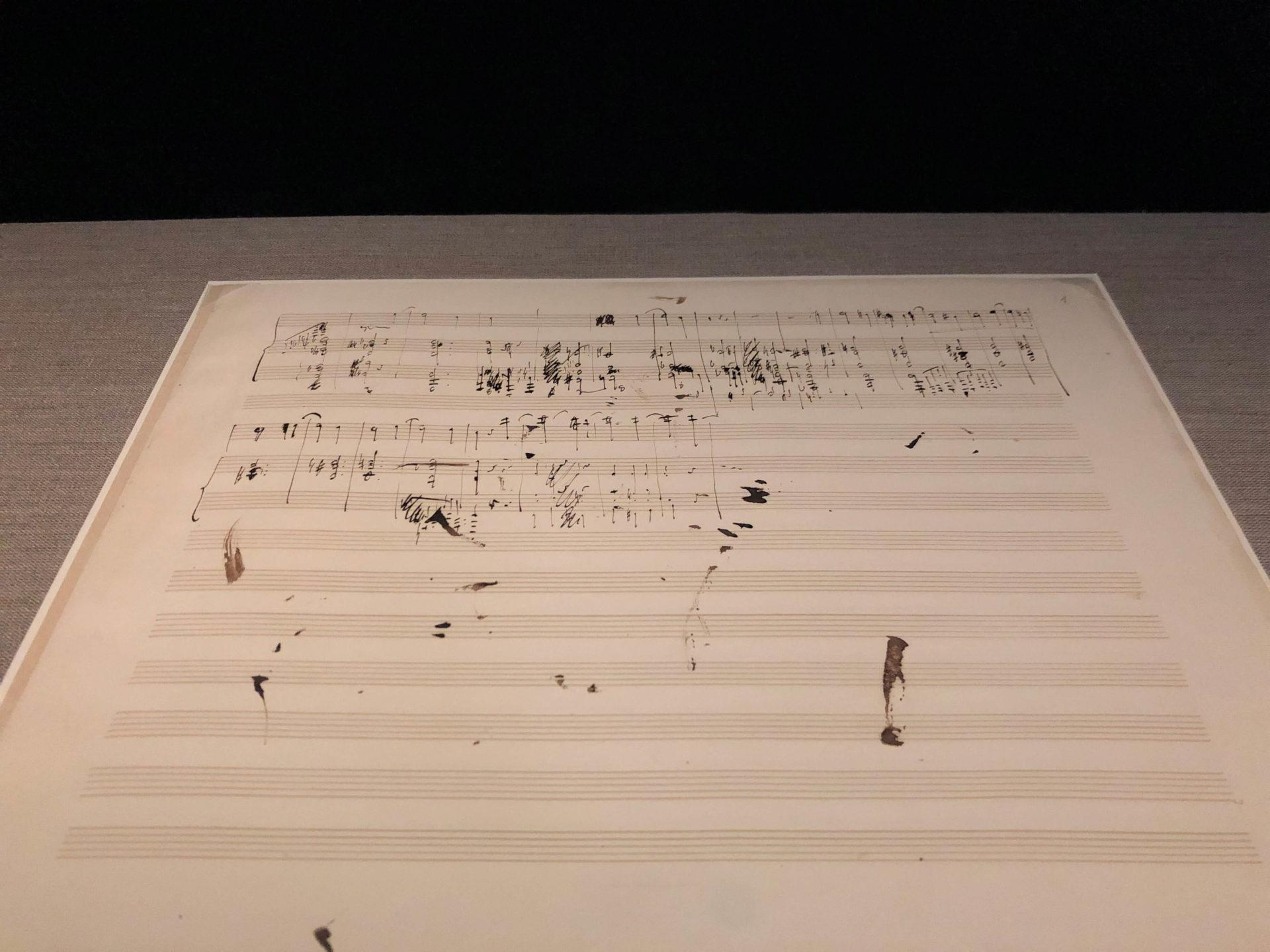 ワルシャワのフレデリック・ショパン博物館にあるショパン直筆の楽譜