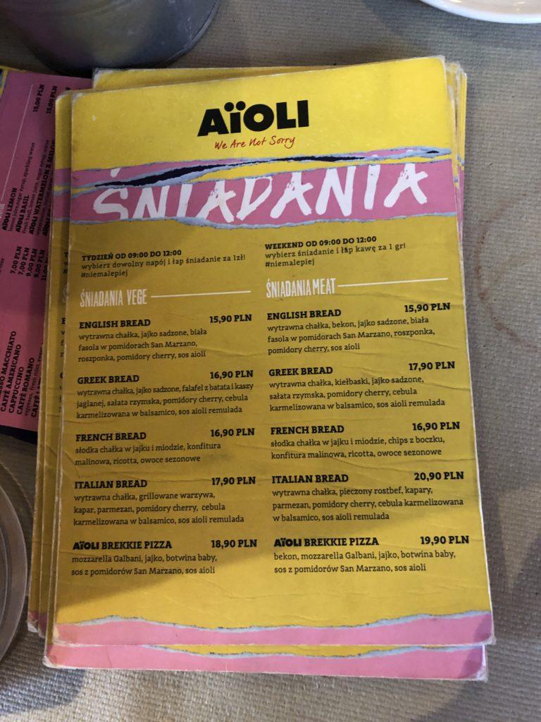 ポーランドのカフェ、AïOLIのメニュー