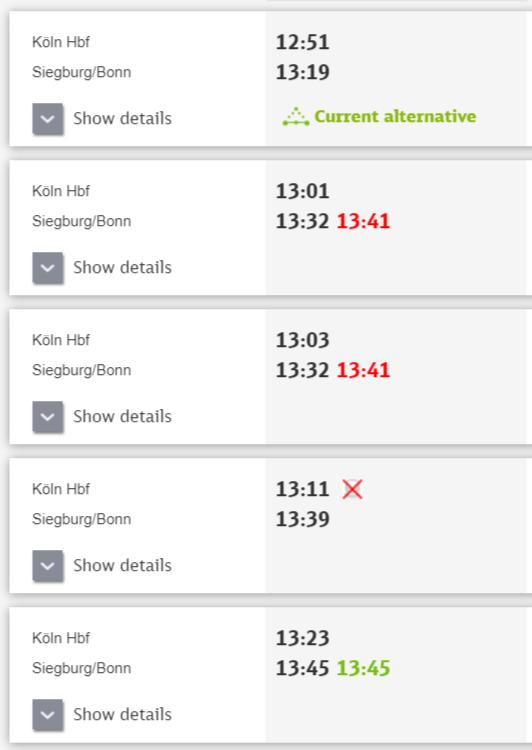 ドイツ国鉄DBの運行状況画面