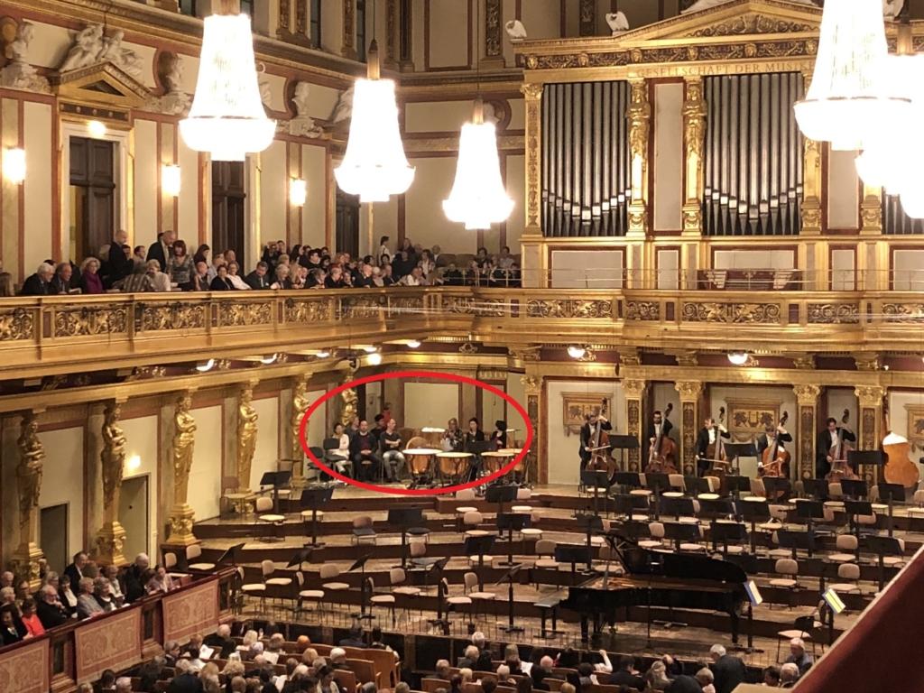 ウィーン学友協会の奏者の後ろにある客席に座る客