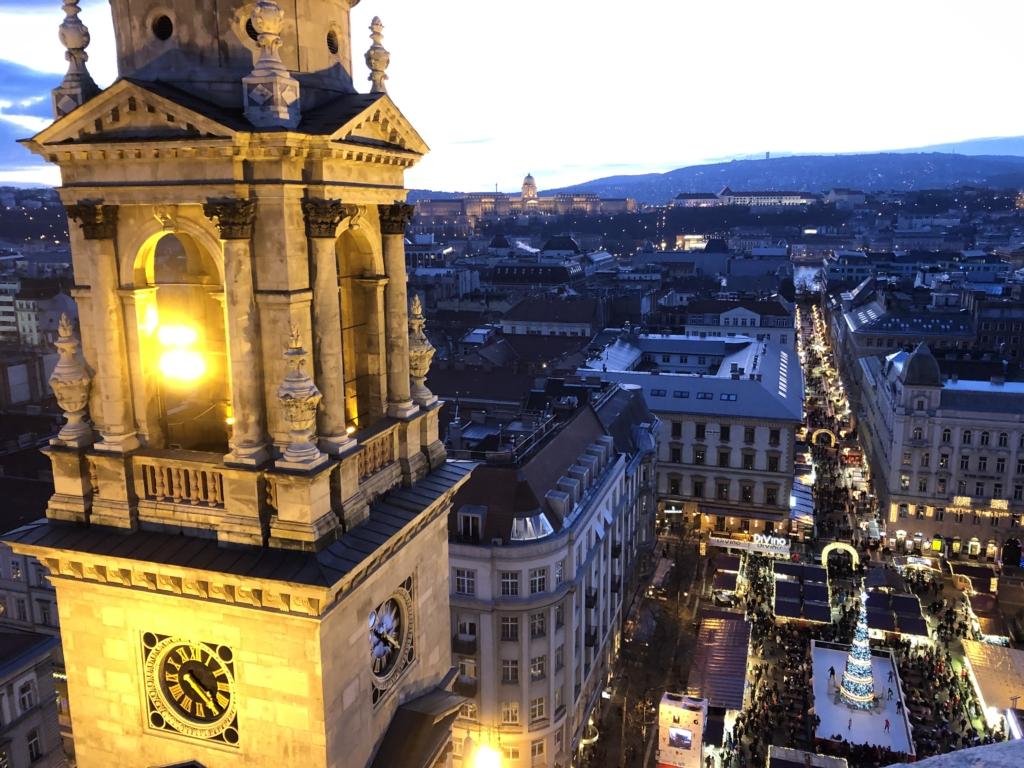 ブダペストの聖イシュトヴァーン大聖堂の展望台から眺める街並み