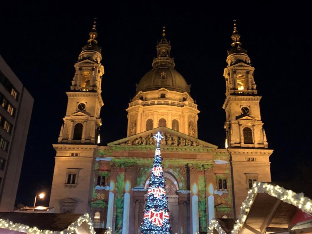 聖イシュトヴァーン大聖堂のクリスマスのプロジェクションマッピング