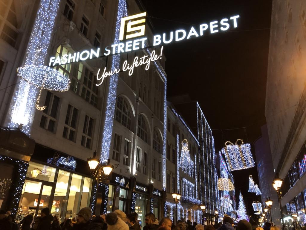 ブダペストのクリスマスマーケットの夜景