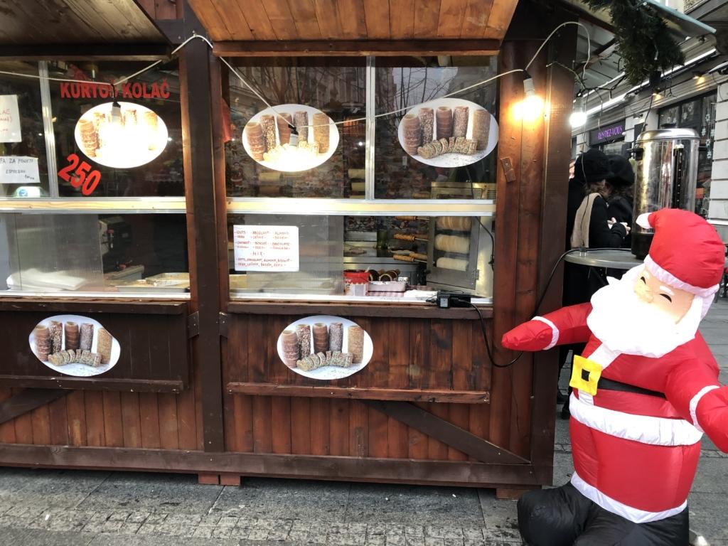 ベオグラードのクリスマスのお菓子の屋台