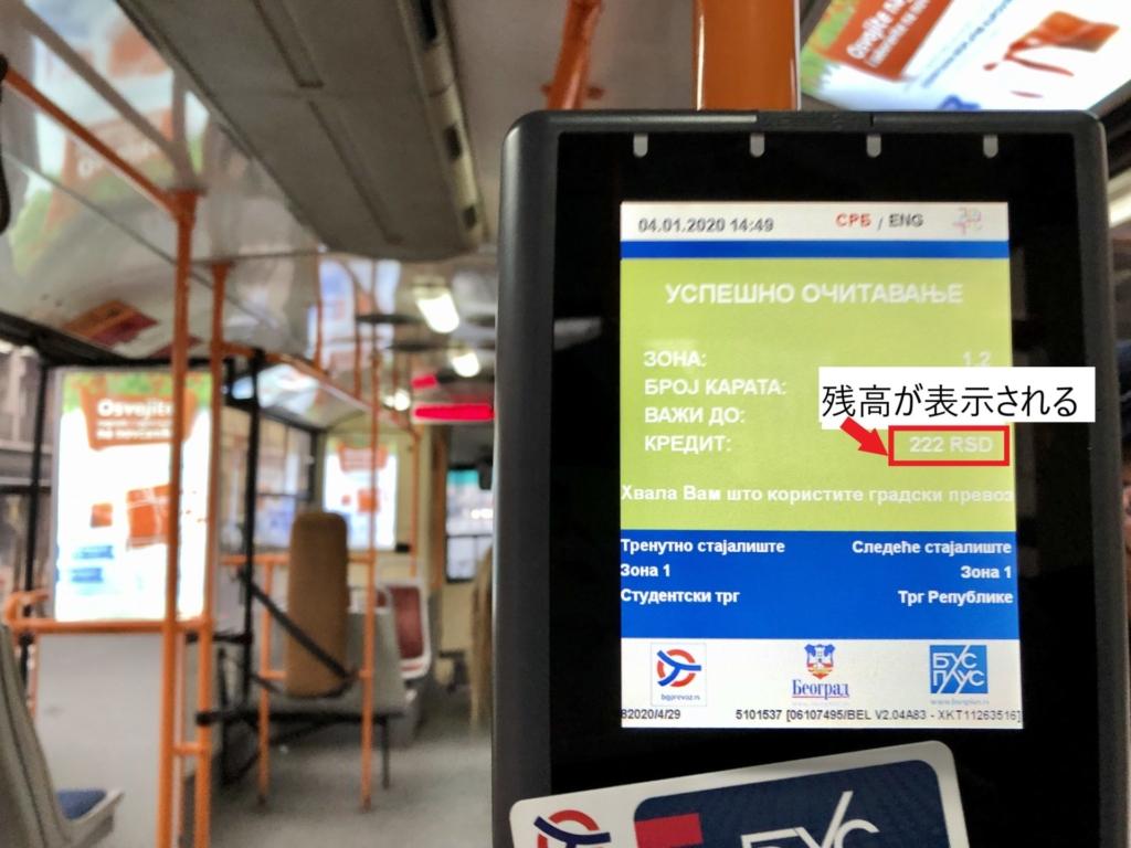 セルビア、ベオグラードのバス・トラムの支払い画面