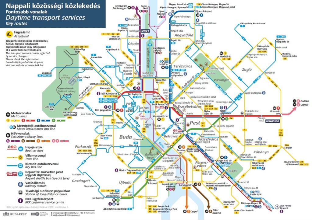 ブダペストの路線地図