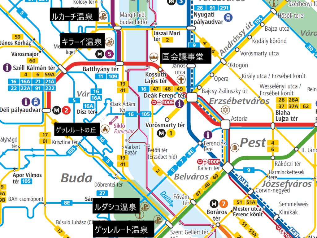 ブダペストの路線図と観光地マップ