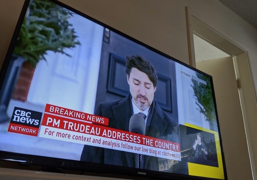 テレビに映ったトルドー首相